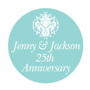 Damask Wedding Anniversary Party Personalised Favour Thank You Gift Sticker Label