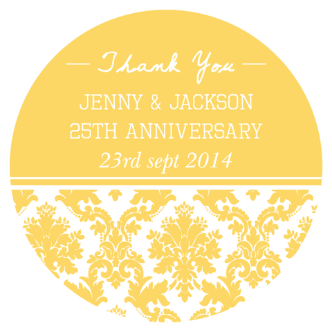 Damask Wedding Anniversary Party Personalised Thank You Favour Sticker Label