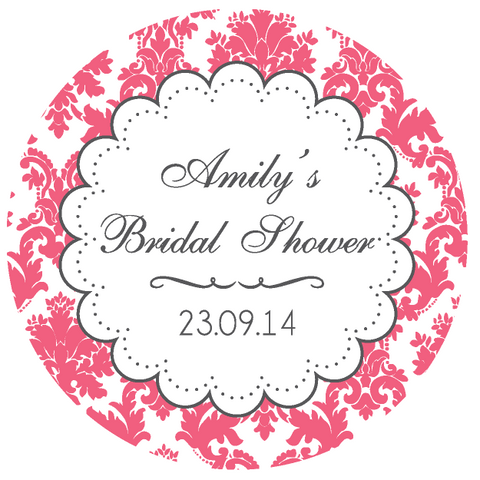 Damask Bridal Shower Party Customized Round Thank You Favour Sticker - Coral Pink