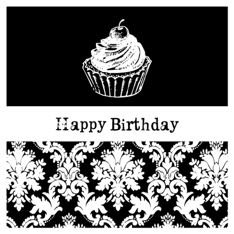 Damask Birthday Party Personalised Favour Gift Tag & Sticker Label