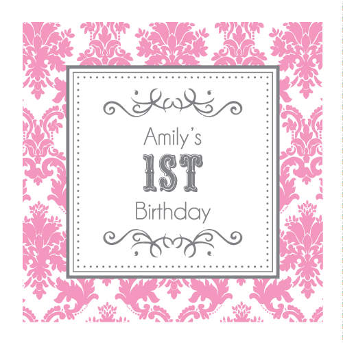 Damask Baby 1st Birthday Party Personalised Favour Thank You Tag & Sticker - AUSTRALIAN FAVORS