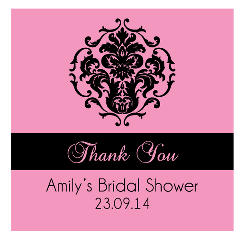 Damask Bridal Shower Personalised Favour Thank You Tag & Sticker
