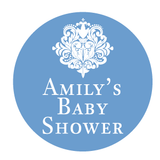 Damask Baby Shower Personalised Party Favour Gift Sticker - AUSTRALIAN FAVORS