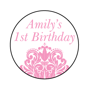 Damask Baby's 1st Birthday Party Personalised Round Favour Sticker - AUSTRALIAN FAVORS