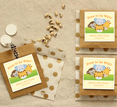 Born to be Wild' Animal Jungle Safari Baby Shower Personalised Thank You Favour Tag & Sticker - AUSTRALIAN FAVORS