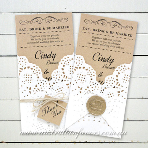 Eat Drink and Be Married Kraft Rustic Wedding Invitation Card - AUSTRALIAN FAVORS