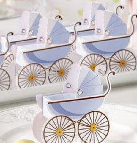 Classic Pram Baby Shower Favour Boxes with Expandable Bonnets in Blue (12 Pcs) - AUSTRALIAN FAVORS