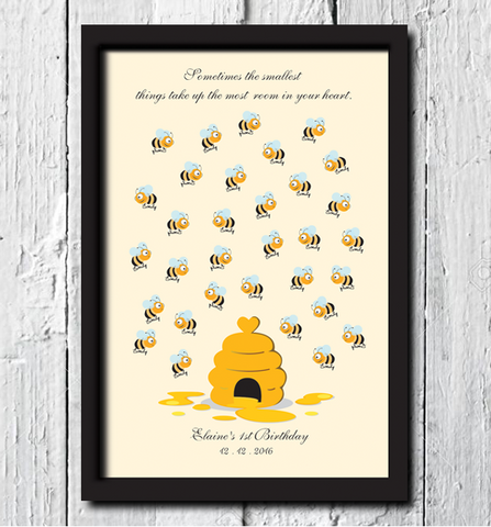 Bumblebee Baby Shower Guest Book with Frame - AUSTRALIAN FAVORS