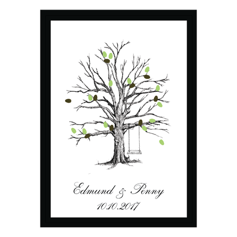 Rustic Tree Leaves Fingerprint Personalised Wedding Guest Book Alternative - AUSTRALIAN FAVORS