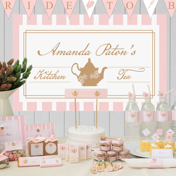 Lady Pink' Bridal Shower Kitchen Tea Personalized Giant Party Banner - AUSTRALIAN FAVORS