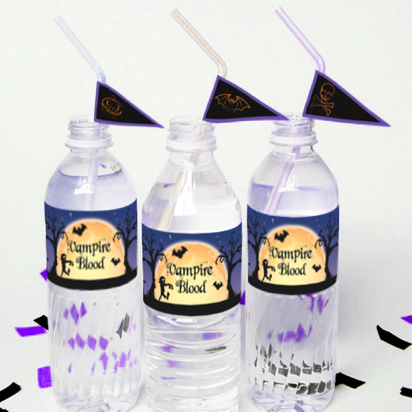 Spooky Night Halloween Party Personalised Water Bottle Label