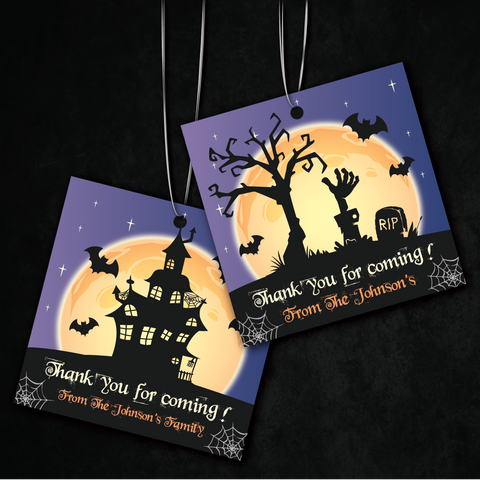 Spooky Night Halloween Party Personalised Square Favour Tag & Sticker Favour Label