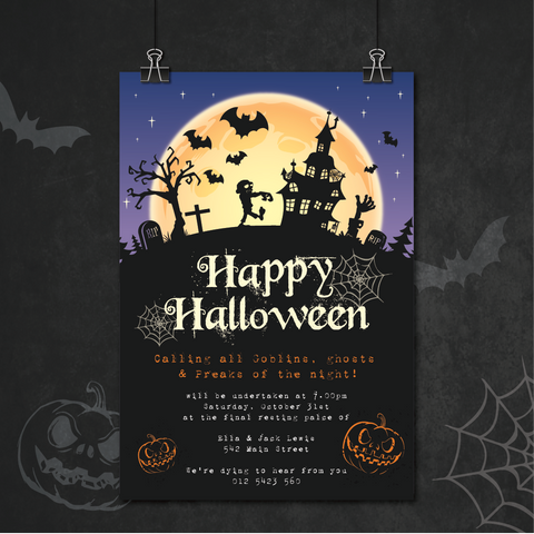 Spooky Night Halloween Party Personalised Invitation Card