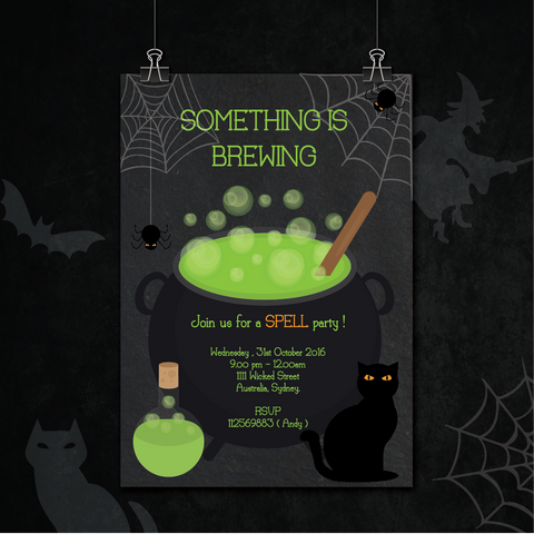 Witches' Brew Halloween Party Personalised Invitation Card