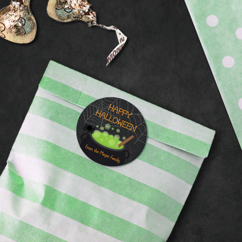 Witches' Brew Halloween Party Personalised Sticker Favour Label