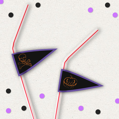 Spooky Night Halloween Party Personalised Straw Flags