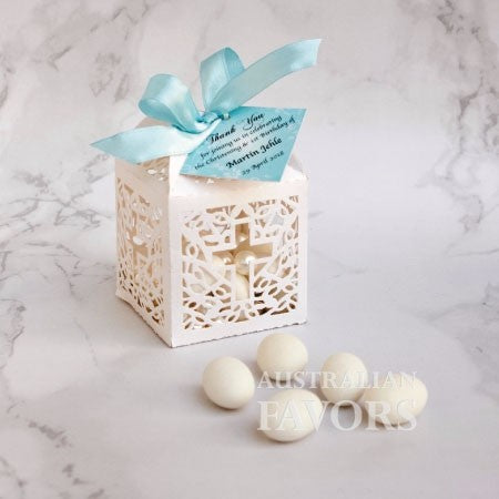 Holy Cross Baptism Christening Candy Bomboniere Box White Laser Cut - AUSTRALIAN FAVORS