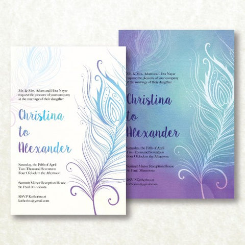 Indian Style Elegant Light Feather Personalised Wedding Invitation Card - AUSTRALIAN FAVORS