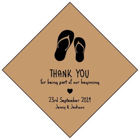 Vintage Rustic Kraft Flip Flop Personalised Beach Wedding Bomboniere Tag & Sticker
