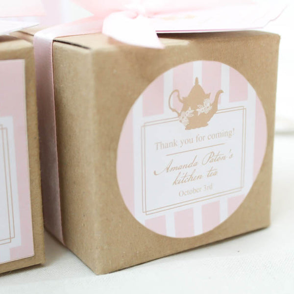 Lady Pink Kitchen Tea Bridal Shower Round Thank You Favour Sticker - AUSTRALIAN FAVORS