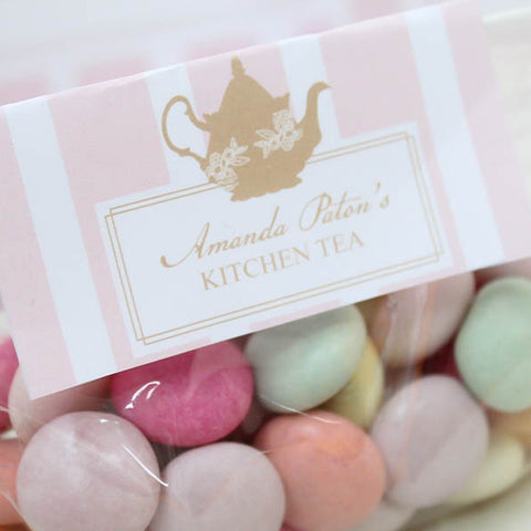 Lady Pink Kitchen Tea Candy Favour Bag Customized Label - AUSTRALIAN FAVORS