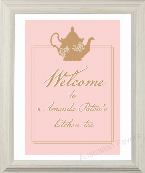 'Lady Pink' Personalized Kitchen Tea Bridal Shower Greeting Sign Party Decoration - AUSTRALIAN FAVORS