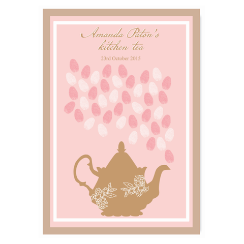 Lady Pink Fingerprint Personalised Bridal Shower Kitchen Tea Guest Book Poster with Frame