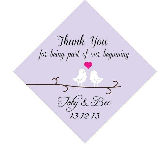 Love Birds Personalised Wedding Thank You Favour Gift Tags & Sticker (Diagonal) - AUSTRALIAN FAVORS