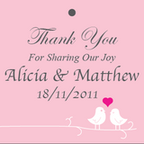 Love Birds Personalised Wedding Thank You Favour Gift Tags & Sticker (Square)