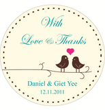 Love Birds Wedding Personalized Round Bomboniere Sticker - AUSTRALIAN FAVORS