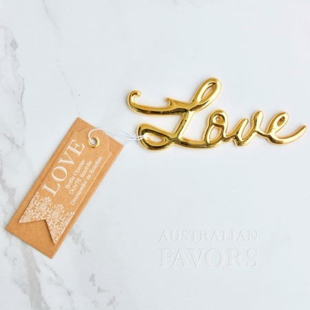 Love Bottle Opener Gold Wedding Favour - AUSTRALIAN FAVORS