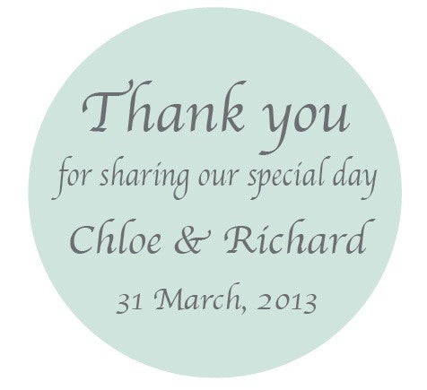 Mint Plain Wedding Bomboniere Personalised Thank You Sticker Label - AUSTRALIAN FAVORS