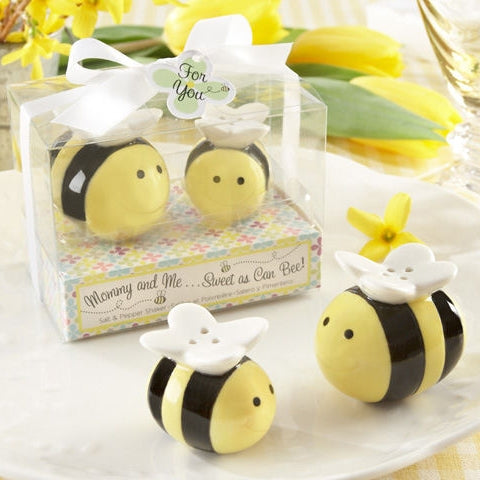 Mommy and Me Bumblebee Salt & Pepper Shakers Baby Shower Favours