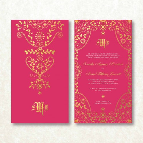 Indian Golden Maharani Personalised Wedding Invitation Card