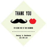 Moustache & Lips Personalised Wedding Favour Bomboniere Tag & Sticker - AUSTRALIAN FAVORS