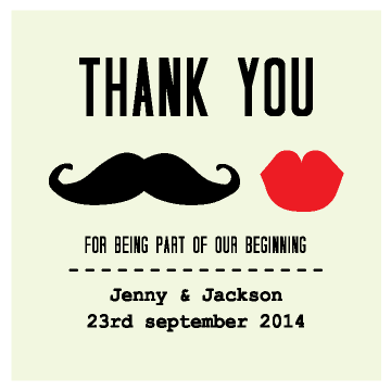 Moustache & Lips Personalised Wedding Bomboniere Gift Tag & Sticker - AUSTRALIAN FAVORS