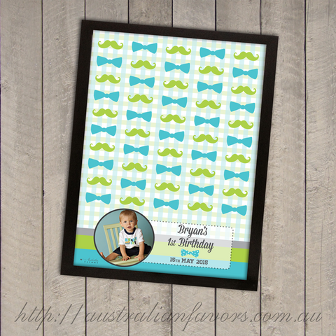 My Little Man' Customized Boy's First Birthday Party Framed Guest Book Alternative - AUSTRALIAN FAVORS