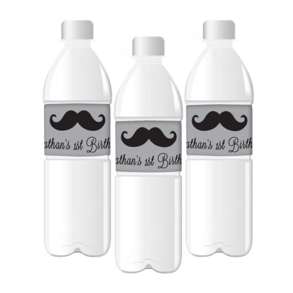My Little Man' Customized Black Moustache Water Bottle Labels Boy's Party Boy's First Birthday Baby Shower Party Decoration - AUSTRALIAN FAVORS