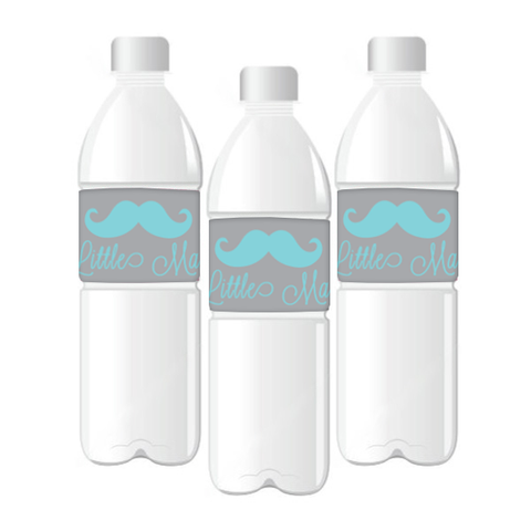 My Little Man' Customized Moustache Water Bottle Labels Boy's Party Boy's First Birthday Baby Shower Party Decoration - AUSTRALIAN FAVORS