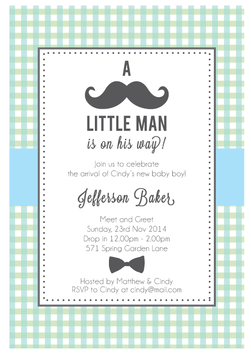 My Little Man Boys Baby Shower 1st Birthday Party Personalized