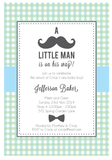 My Little Man Boy's Baby Shower 1st Birthday Party Personalised Invitation