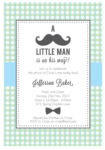 My Little Man Boy's Baby Shower 1st Birthday Party Personalised Invitation - AUSTRALIAN FAVORS