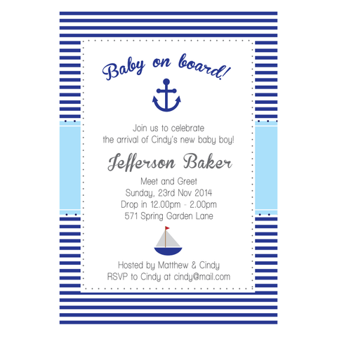 Nautical Anchor & Sailboat Boy Baby Shower 1st Birthday Party Invitation Card - AUSTRALIAN FAVORS
