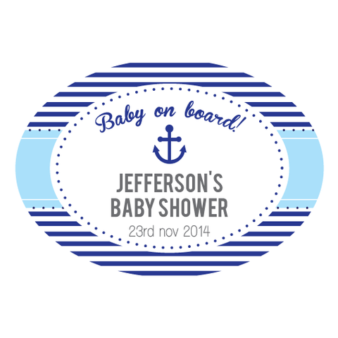 Nautical Sailor Personalised Boy Baby Shower Envelope Seal - AUSTRALIAN FAVORS
