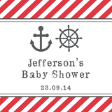Nautical Diagonal Stripe Baby Shower Personalised Tag / Sticker