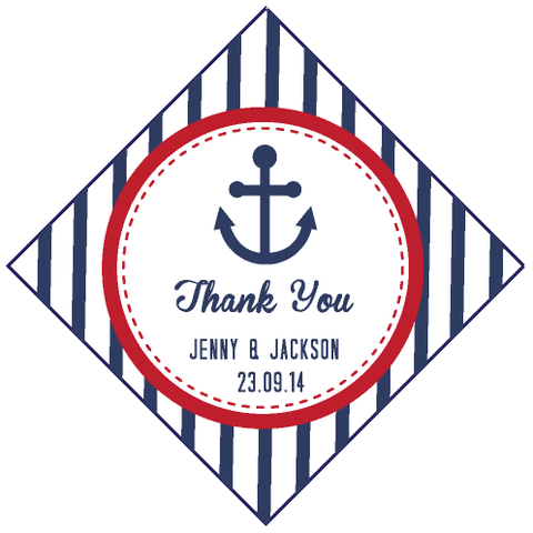 Nautical Anchor Vertical Stripes Personalised Wedding Favour Thank You Tag & Sticker - AUSTRALIAN FAVORS