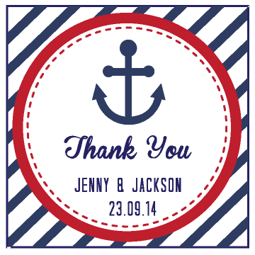 Nautical Anchor Stripes Customized Beach Wedding Thank You Favour Tag & Sticker - AUSTRALIAN FAVORS