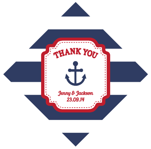 Nautical Anchor Navy Stripes Personalised Wedding Favour Thank You Tag & Sticker - AUSTRALIAN FAVORS