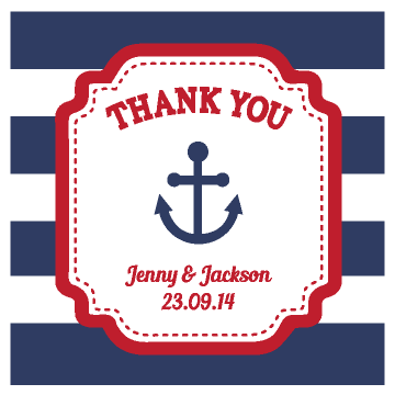 Nautical Anchor Stripes Customized Beach Wedding Favour Thank You Label & Sticker 2 - AUSTRALIAN FAVORS