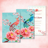 Oriental Elegance Phoenix and Peony Personalised Wedding Invitation Card - AUSTRALIAN FAVORS